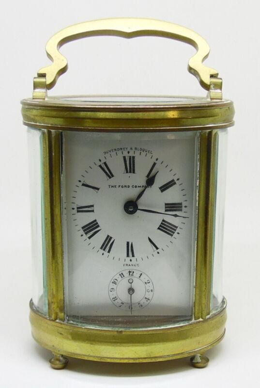 Antique Duverdrey & Bloquel Ford Company Brass Glass Carriage Clock Time & Alarm