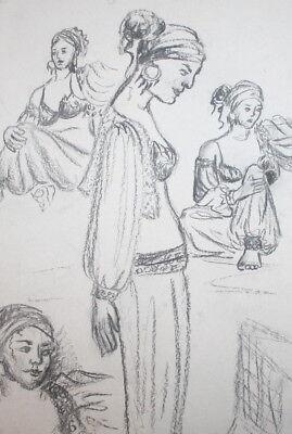 Vintage theatre costume design gypsy woman pencil drawing
