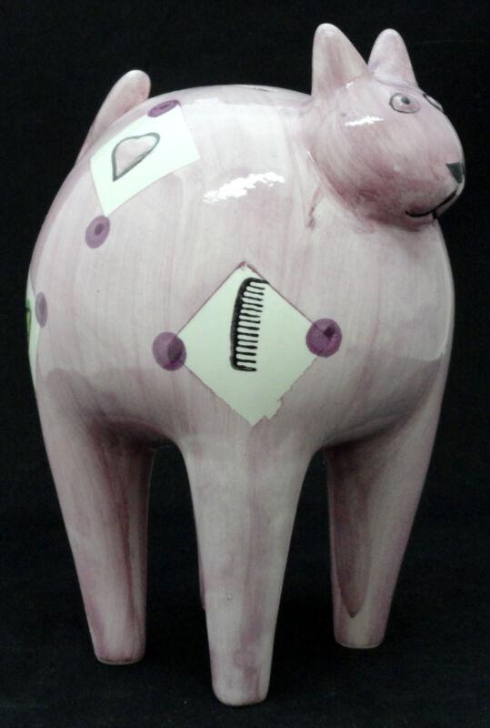 16095 Ceramic Designer Purple Cat Bank