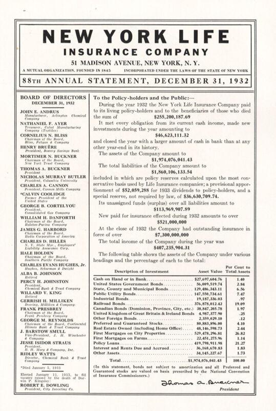 1933 New York Life Insurance: 88th Annual Statement Vintage Print Ad