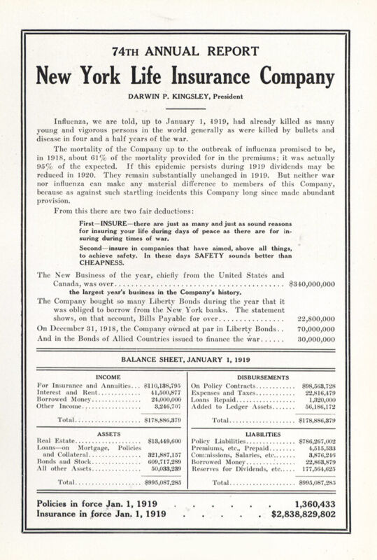 1919 New York Life Insurance: 74th Annual Report Vintage Print Ad