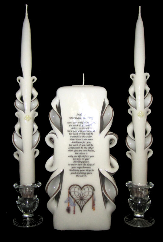 NATIVE AMERICAN Wedding Unity Candles Set CUSTOM MADE: your colors, name & date