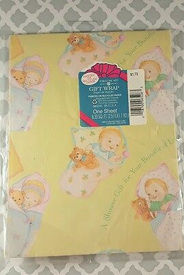 HALLMARK Wrapping Paper GIFT WRAP Baby Shower GIRL OR BOY NIP - Baby Shower Wrapping Paper