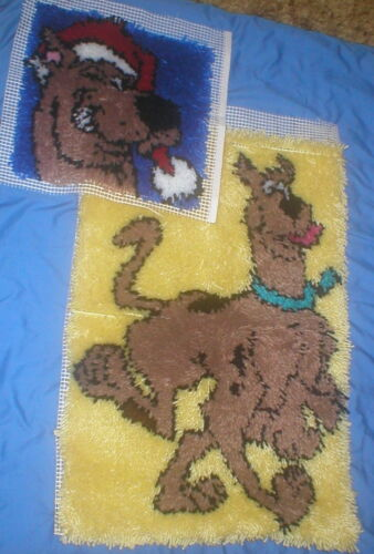COMPLETED SCOOBY DOO LATCH HOOK RUGS SET OF 2