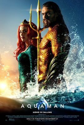 Aquaman - original DS movie poster 27x40 D/S Style C 2018 DC Momoa, Heard  Mera