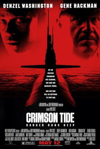 "CRIMSON TIDE ORIGINAL MOVIE THEATER POSTER 27"" x 40"" WASHINGTON-HACKMAN P100514"