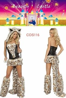 New Furry Halloween Wolf Women Cosplay Leopard Cat Tail Animal Party Costume