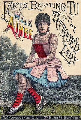 VINTAGE TATTOO ART PRINT Facts Relating to the Tattoed Lady Pub Ink Poster 11x14 ()