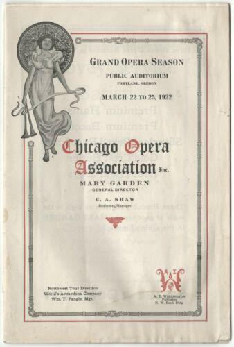 1922 Portland Oregon GRAND OPERA SEASON Program; Chicago Opera Association
