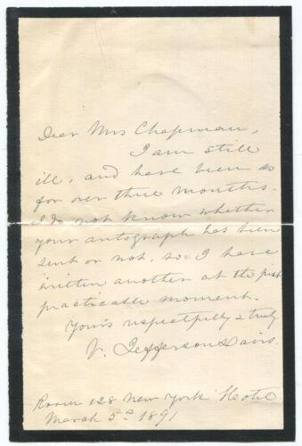 1891 Varina Davis [Mrs. Jefferson Davis] Autograph Letter Signed