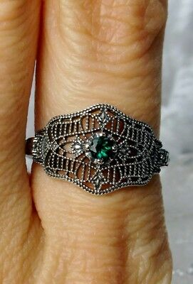 Natural Green Emerald Art Deco/Victorian Sterling Silver Filigree Ring Size 7.5