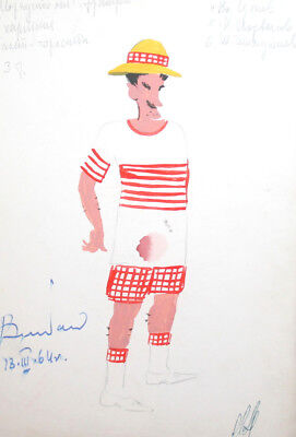 1964 Theatre costume design gouache drawing signed