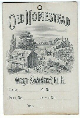 c1880s West Swanzey, NH Old Homestead Woolen Mills Illustrated Textile Tag