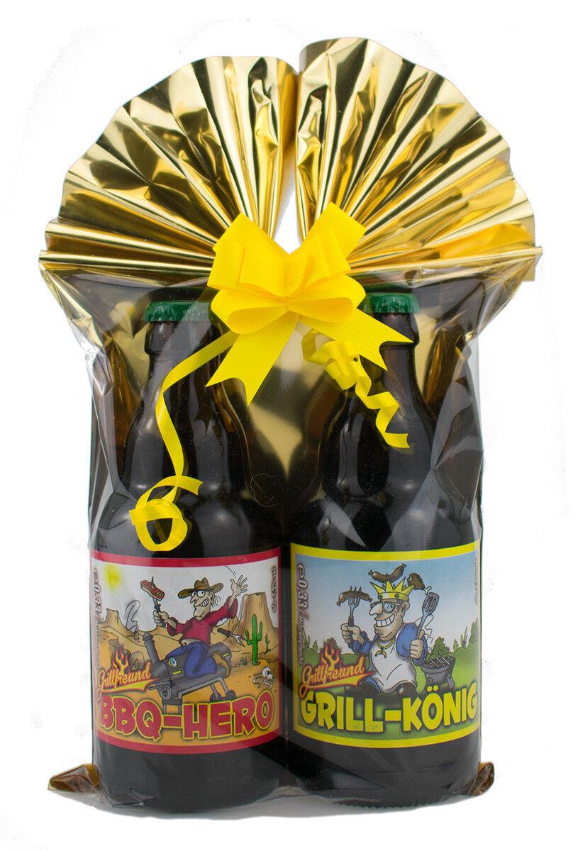 Geschenk-Set Grill Bier fertig verpackt mit Folie und Schleife