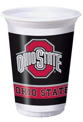 Ohio State University 20-oz Plastic Tumblers (96 ct) Case of 12 Packages, 8/pack - Ohio State Party Supplies