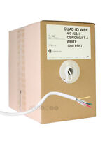 Truarmed 22AWG 4 Conductor White Quad Alarm Cable (1,000 Feet). 99.9999% Copper.