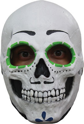 Morris Costumes Men's Full Over The Head Catrin Sugar Skull Latex Mask. TB26455