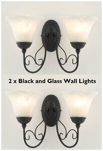 2 x Classic Black & Alabaster Glass Shades Twin Wall Light Wash