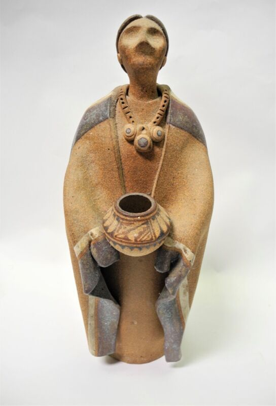 1984 TERRY SLONAKER Native American Stoneware Sculpture Standing Woman w/Pot