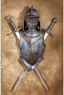- 16th Century Italian Battle Armor Medieval Helmet Breast Plate & Crossed Swords