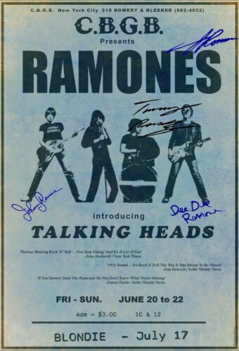 RAMONES 1975  Box Office CONCERT POSTER CBGB with signatures** blondie new york