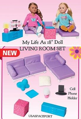 """living room set couch sofa bed chair 18"""" american girl my life as"""