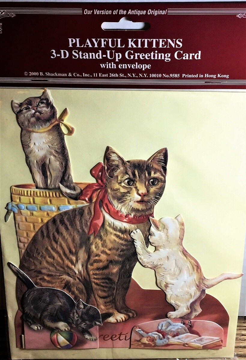 Cat Kittens 3d Greeting Card Decoration Rare Mint Factory Sealed
