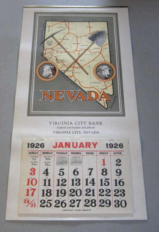 Original Old 1926 - VIRGINIA CITY BANK Calendar - Nevada - MAP - Mining