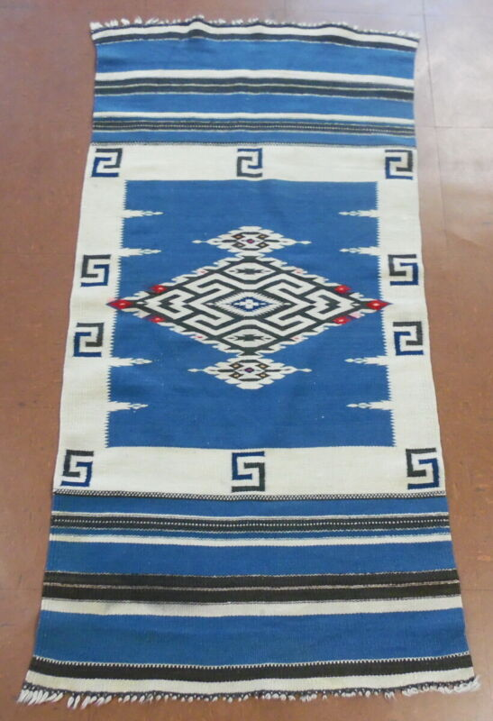 Vintage Mexican Native Chimayo Texcoco Whirling Log Wool 4