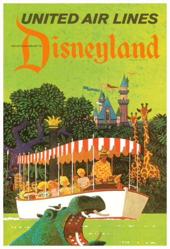 Disneyland Jungle Cruise United Airlines - Advertising Poster