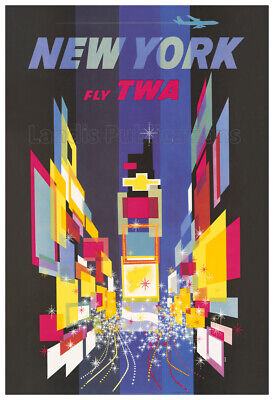 1956 New York City Fly TWA - Vintage Advertising Poster