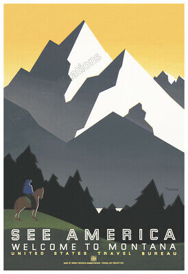 T3 Vintage 1930/'s Welcome To Montana America Travel Poster A4