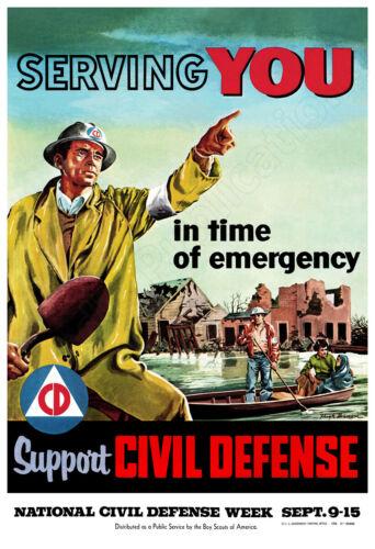 """1956 Civil Defense - """"Serving You"""" Vintage Poster"""