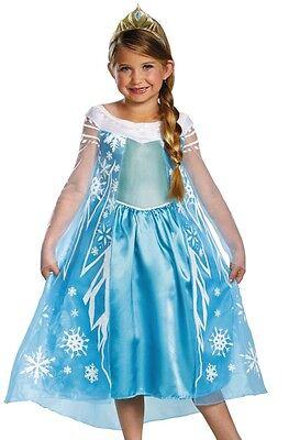 Princess Elsa Costume Dress Snow Queen Deluxe Disney Frozen - XS S M L - Fast - (Elsa Deluxe Costume)