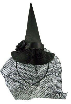 Halloween Black Witch Hat with Veil Headband Accessory](Halloween Witch Hat Headbands)