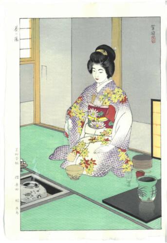 Ukiyo-e Japanese Woodblock Print Kasamatsu Shiro Tea Ceremony  Reproduction Good
