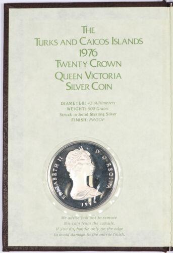 1976 Turks and Caicos Islands 20 Crown Queen Victoria Proof .925 Silver 600Grain