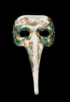 Mask from Venice Zanni - Mask Venetian Long Nose Mosaic Green 1168 VG17