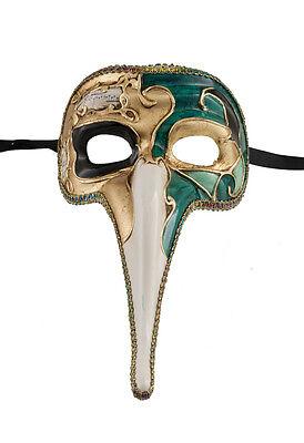 Mask from Venice Zanni-Mask Venetian Long Nose Musica Green Golden 1498 VG17