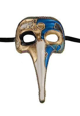 Mask from Venice Zanni-Mask Venetian Long Nose Musica Blue Golden 1500 VG17