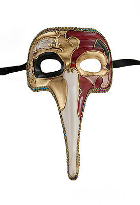 Mask from Venice Zanni-Mask Venetian Long Nose Musica Red Golden 1499 VG17