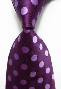 New Classic Light Purple Polka Dot JACQUARD WOVEN Silk Men's Purple Tie Necktie