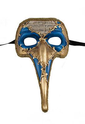 Mask from Venice Zanni - Mask Venetian Long Nose Symphonia Blue Golden 125 VG17