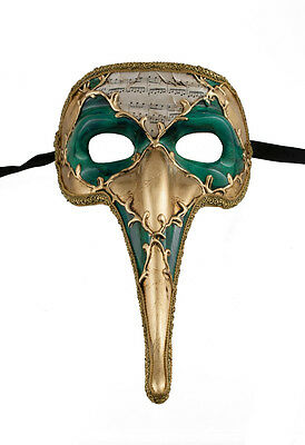 Mask from Venice Zanni - Venetian Long Nose Symphonia Green Golden 1495 VG17