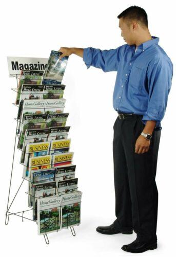 20 Pocket Freestanding Magazine News Rack Office Display Organizer Stand Folding