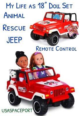 """My Life as 18"""" Doll Remote Control ANIMAL RESCUE JEEP American Girl Boy R/C Car"""