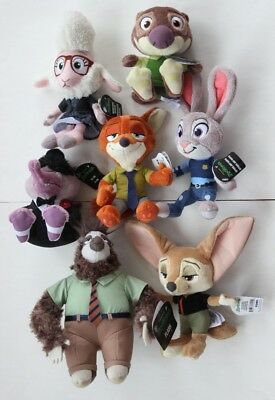 Plush NWT Tomy Zootopia Animals Flash Judy Nick Mr Big Finnick Mayor Mr Otterton