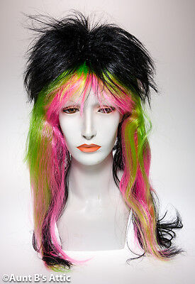 Halloween Costumes With Colored Hair (Wig Multi-Colored Black With Neon Punk Style Synthetic Hair Costume)