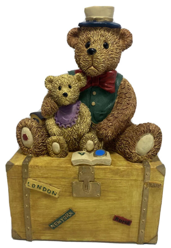 """Teddy Bears Coin Bank 8.5"""" Piggy Bank Great Condition Cute For Kids Room"""