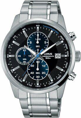 Lorus Sports Quartz Chronograph Black Dial Steel Men's Watch RM329DX9 RRP £140